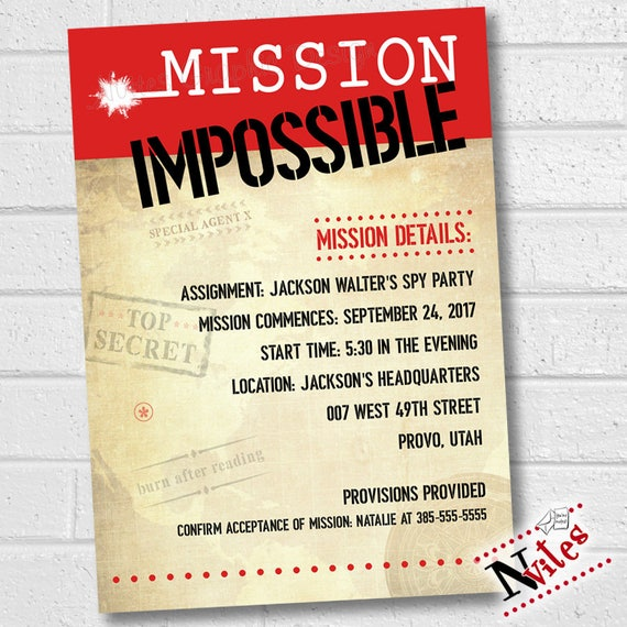 Mission Impossible Invitation Spy Party Invitation Mission