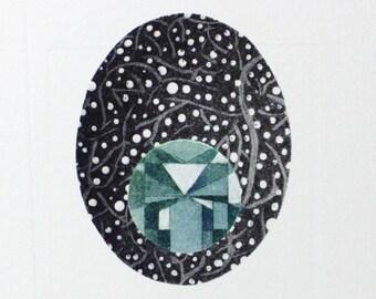 Bejewelled cell - cosmic art - nature art - etching aquatint printmaking - fine art - science art - gemstone art - small art - tiny art ooak