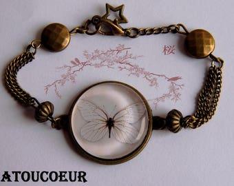 Bracelet/ Cabochon/ Verre/Métal Bronze/Ajustable,Papillon Vole,Vintage.