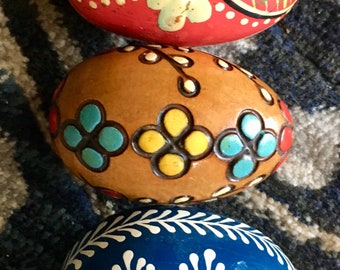 3 Beautiful Hand Painted Vintage Wooden Eggs