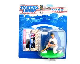 Vintage MLB Mark McGwire Oakland Athletics Starting Lineup & Baseball Collector Card 1997 Edition Hasbro Kenner Sports Memorabilia Figurine