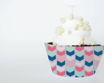 Printable Cupcake Wrapper, BOHO THEME for Birthdays or Showers, Instant Download, Chevron
