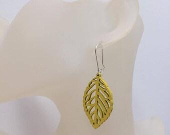 Yellow wood leaf earrings