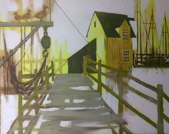Vintage Old Coastal Beach Sailboats Painting Lee Reynolds Wharf Dock Seagulls