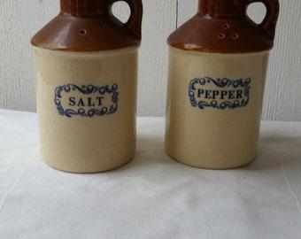 Stoneware pottery cruet set, salt and pepper shakers, pots, jugs, pitchers