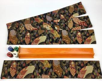 Set of 4 Mahjong Standard Rack Sleeves ~ Chinese Fans pattern ~ Mah Jongg