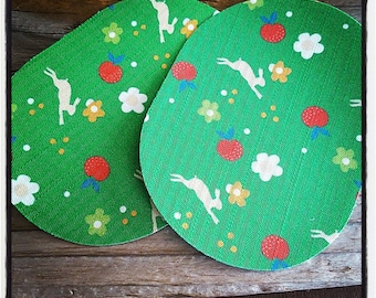 Pair of 2 elbow pads on rabbits and flowers, green and Red