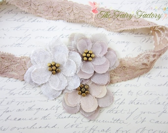 Burlap and Lace Headband, Beige Taupe and Ivory Flower Trio Champagne Gold Lace Headband, Baby Toddler Child Girls Headband