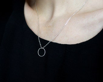 Simple Silver Necklace Sterling Silver Necklace Dainty Silver Jewellery Circle Necklace Dainty Necklace Sparkly Silver Necklace Minimal