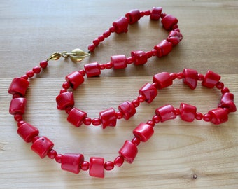 Chunky Red Coral Statement Necklace with Gold Washed Sterling Silver Leaf Shaped Clasp - 34 inches long