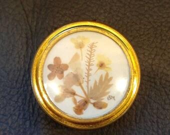 Vintage pill box, Handmade Floral inlay.