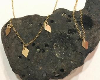 14K Gold Filled Diamond Pendant Necklace // 14K Gold Necklace // Diamond Pendant Necklace // Delicate Necklace // Dainty Necklace