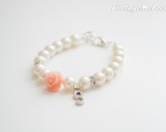 Peach Flower Bracelet, Personalized Bracelet,Flower Girl Bracelet,Personalized Jewelry,Flower Girl Gift,Toddler Bracelet, Baptism Gifts