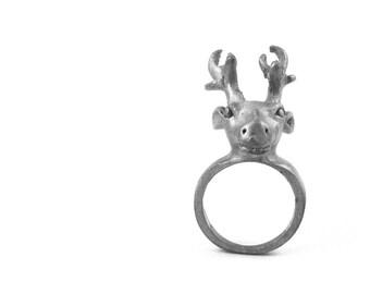 Vintage Pewter Stag Ring Size 7 half Buck Deer Large Statement 3D Reindeer for Christmas