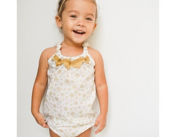 Golden Snowflake Romper OR Skirt, Baby Toddler Rompers, Sunsuit, Christmas Outfit, Girls Skirt, Bow, Holiday Gift, Boho,Headwrap, Snow, Xmas