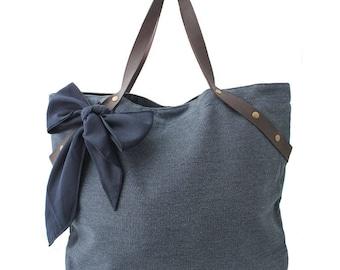 Great fabric for women with a bow handbag / xxl canvas bag / vegan-vegan bag
