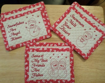 Fun Handmade Quilted Snowman Mug Rugs or Mini Placemats