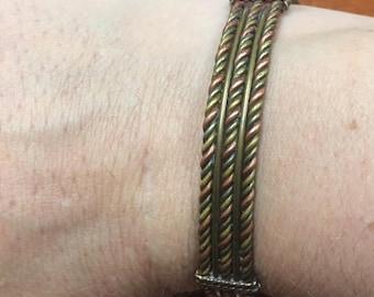 Copper and Brass Twist Bracelet