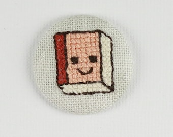 Book Red Cover - Double Outline - Cross Stitched Needle Minder