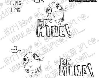 INSTANT DOWNLOAD Valentines Day Cute Big Eye Bunny Digi Stamp - Bucky Be Mine Image No. 281 by Lizzy Love