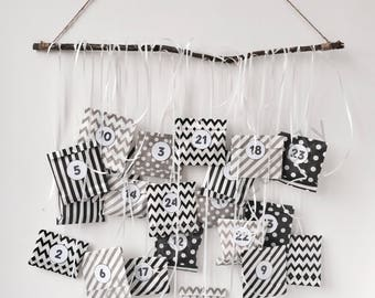 Stylish monochrome handcrafted ADVENT CALENDAR filled for teens/tweens adults or children.