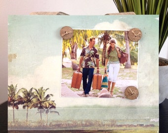 Bahama Breeze - Magnetic Picture Frame Handmade Gift Present Home Decor by Frame A Memory Size 9 x 11 Holds 5 x 7 Photo - Beach Tropical
