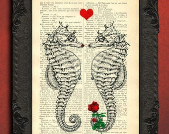 seahorse print, seahorse decor on dictionary page, upcycled nautical print love seahorse couple, seahorse art, book lover gift