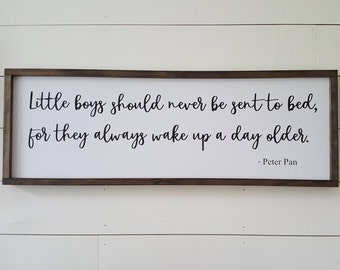 Handcrafted Wood Home Decor Sign - Little Boys by Peter Pan