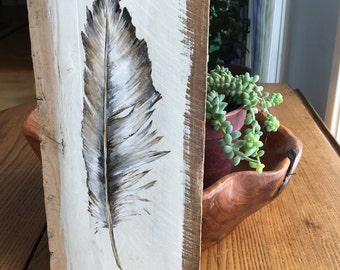 Feather Pallet Painting, Distressed Wood Art, Pallet Art