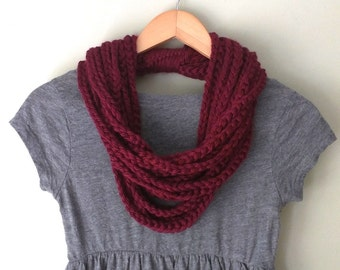 Barn Red Scarf Necklace / Mid Length / Rope Scarf / Crochet Chain Scarf / Maroon Scarf