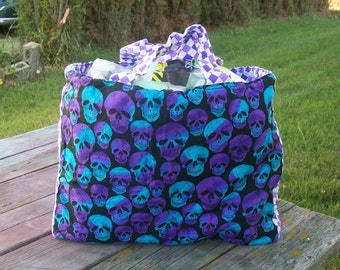 Tote Bag Purple Blue Skulls Ready To Ship Shopping Bag Grocery Bag