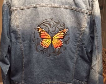 Embroidered Jean Jacket - Butterfly