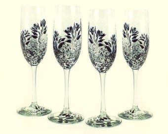 Set of 4 Hand Painted Champagne Glasses - Pearl and Black Roses, Bubbly Background - Personalized 30th Anniversary Gift
