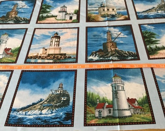 Timeless Treasure Light House Block fabric  by the panel