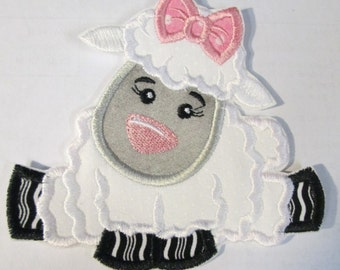 Baby Boy and Baby Girl Lamb - Iron On or Sew On Embroidered Custom Made Appliques