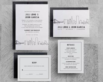 San Francisco Wedding Invitation, San Francisco Skyline, Bay Area, Printable, New York, Seattle, Las Vegas, Menus, Save the Dates