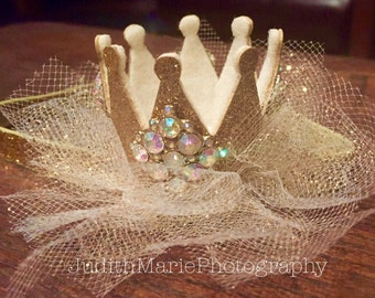 Stunning Gold or Silver Glitter and Tulle Crown/Birthday Crown/Gold Birthday Crown with Number in Rhinestones & Embelleshed Throughout