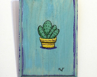 Cactus Painting - Original Wall Art Acrylic Small Painting on Wood by Karen Watkins - Cactus in Pot Miniature Wall Art
