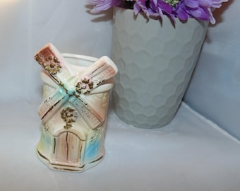 "Vintage Windmill Small ceramic Flower vase 3.5"" tall pastel colors"