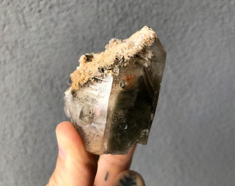 Shamanic Dream Quartz Crystal, Shaman's Dream Stone, Elestial Quartz, Green Chlorite, Minas Gerais, Brazil HP770