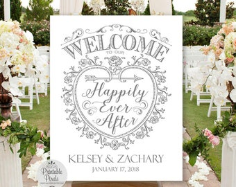 Grey Printable Welcome To Our Happily Ever After Wedding Sign, Personalized with Names and Date (#WEL3A)