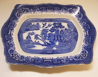 Royal Ventonware Blue Willow Scalloped Deep Platter  - Brown Steventon 13 x 10.5 Inches Made in England