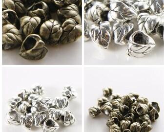 16pcs Oxidized Silver Tone Antique Brass Tone Base Metal Spacers-Leaf 10x7mm (999X)(E-326)(F-314)