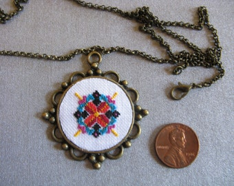red and teal design pendant, cross stitch pendant, mandala pendant, cross stitch mandala, mandala design -170122