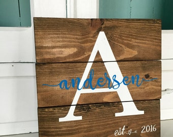 "Wood Family Name Sign, 10.5"" x 10.5"" Rustic Monogram Sign, Pallet Wood Last Name Sign, Established Wood Sign- Wedding, Anniversary Gift"