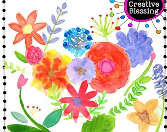 Water Color Flowers Clip Art