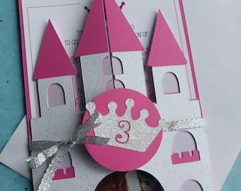 Princess castle party invitation, castle invitation, personalized invitation, princess party invitation