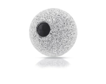 Sterling Silver 3mm Stardust Round Shiny Beads - 1.2mm hole - 48 pcs. - Seamless,  Findings, Supplies
