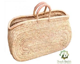 Naturelle ovale moyen panier: panier Français, marocain panier, sac en paille, français panier, sac de plage, sac en paille