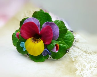 Flower bracelet Pansy Cuff Bracelet Colorful bracelet Floral bracelet Polymer clay cuff bracelet Handmade Bracelet Gift for women Purple